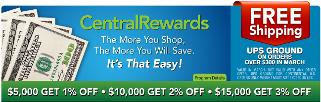 CENTRAL REWARDS - FREE SHIPPING ON ORDERS OVER $300